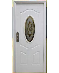 Puerta de Metal con Cerradura Multipunto y Vitral, color Blanco Apertura Derecha