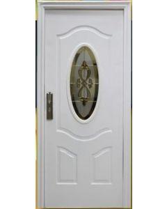 Puerta de Metal con Cerradura Multipunto y Vitral, color Blanco. Apertura Izquierda