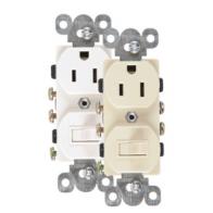 Interruptor y  tomacorriente blanco 15A